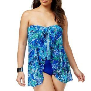 🆕 Lauren RL Flyaway Bandeau Swimsuit, Size 18W
